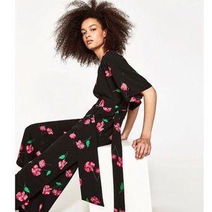 Zara black and pink floral jumpsuit